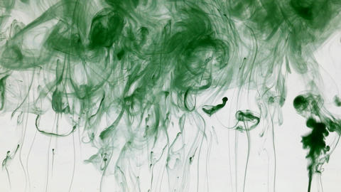 Many paint streams in water, green colored ink ビデオ