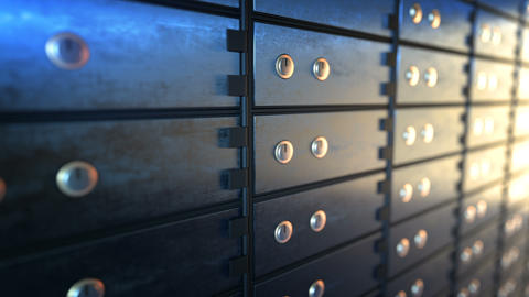 Close-up of safe deposit boxes in a bank vault room, seamless loop Animation