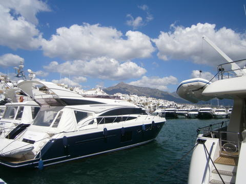 Puerto Banus. Luxury boats in Jose Banus yacht harbour & La Concha mountain Photo