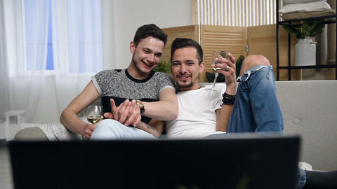 Homosexual couple, gay people, same sex marriage relationship between caucasian Footage