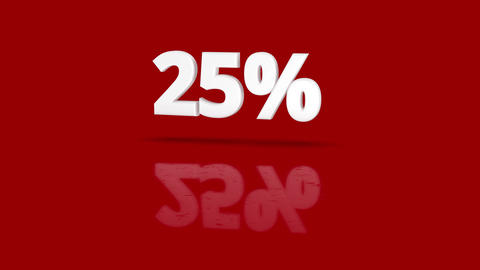 25 percent icon jumping towards camera with clean red background Animation