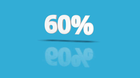 60 percent icon jumping towards camera with clean blue background Animation