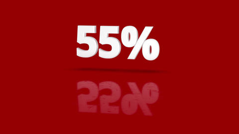 55 percent icon jumping towards camera with clean red background Animation