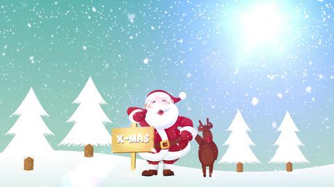 Santa And Reindeer Christmas Banner Animation Stock Video Footage