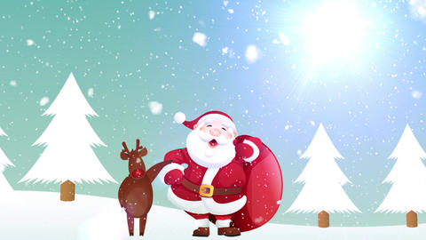 Santa And Reindeer Christmas Banner Animation Animation