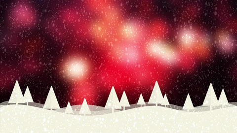 Snow and Christmas trees HD 1080 red bokeh background Animation