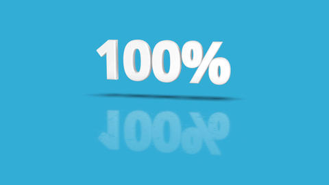 100 percent icon jumping towards camera with clean blue background Animation