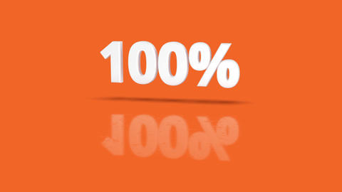 100 percent icon jumping towards camera with clean orange background Animation