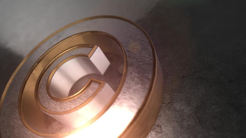 3D gold and silver metal copyright icon Animation
