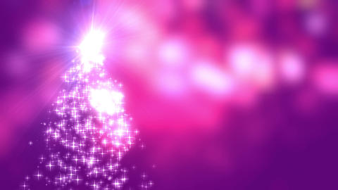 Snowflakes star lights converge into the Christmas tree with pink bokeh background Animation