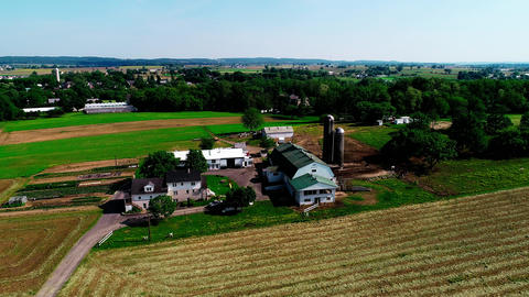 Amish Countryside and Farm from Drone Footage