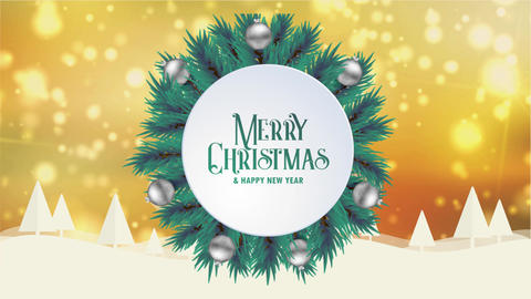 Merry Christmas greeting card animation golden bokeh background trees snow Animation