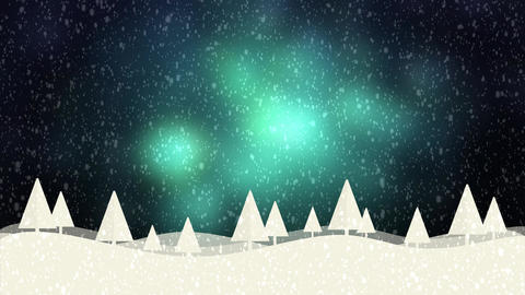 Snow and Christmas trees HD 1080 green bokeh background Animation