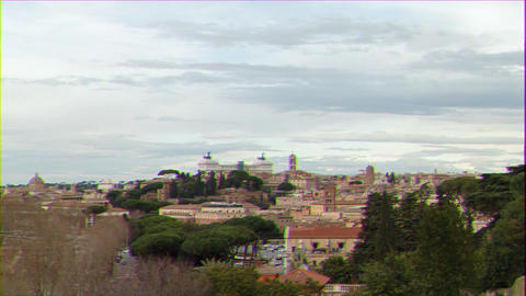 Glitch effect. Day to night, Vittorio Emanuele II. Rome, Italy. Time Lapse Footage