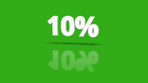 10 percent icon jumping towards camera with clean green background Animation