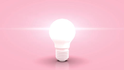 Jumpin white bulb towards camera and lighting against pink pastell background Animation