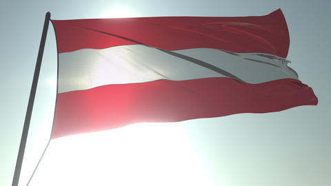 Waving flag of Austria against shining sun and sky. Realistic loopable 3D Footage