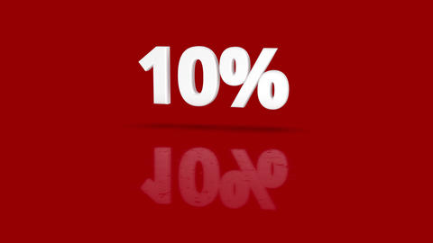 10 percent icon jumping towards camera with clean red background Animation