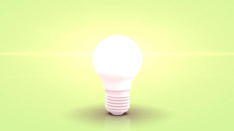 Jumpin white bulb towards camera and lighting against green pastell background Animation