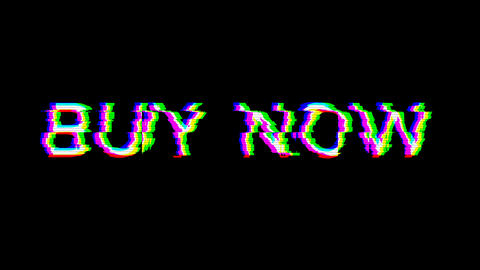 From the Glitch effect arises text BUY NOW. Then the TV turns off. Alpha channel Premultiplied - Animation