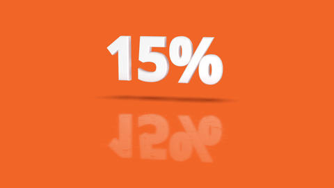 15 percent icon jumping towards camera with clean orange background Animación
