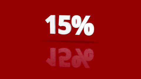 15 percent icon jumping towards camera with clean red background Animation