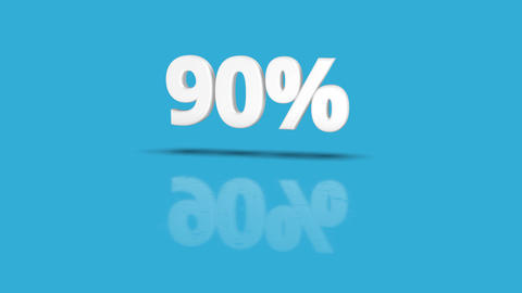 90 percent icon jumping towards camera with clean blue background Animation