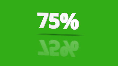 75 percent icon jumping towards camera with clean green background Animation