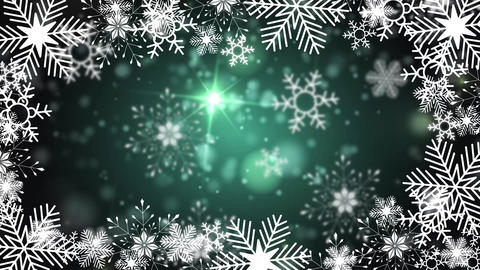 beautiful snowflakes rotating on a green background lens flare bokeh Animation
