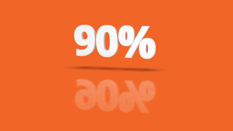 90 percent icon jumping towards camera with clean orange background Animation