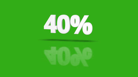 40 percent icon jumping towards camera with clean green background Animation
