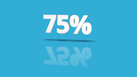75 percent icon jumping towards camera with clean blue background Animation
