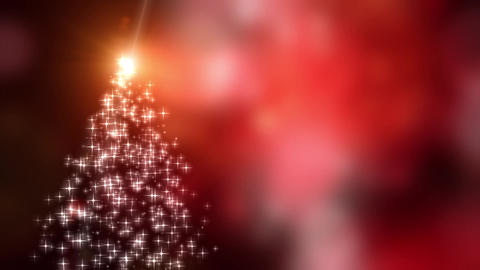 Snowflakes star lights converge into the Christmas tree with red bokeh Animation