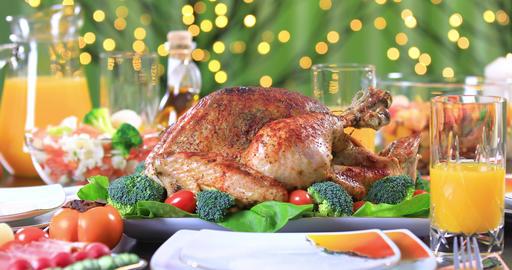 Garnished roasted turkey on festive table closeup Archivo