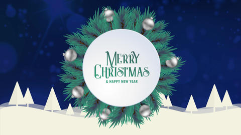 Merry Christmas greeting card animation blue bokeh background trees snow Animation