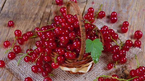 Redcurrant in basket on brown wooden table rotating Footage