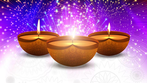Happy Diwali Indian Temple on a Religious Festival Diwali. Oil Lamp animation Animation