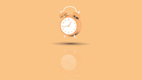 Alarm Clock Jumping towards camera with orange pastell background Animation