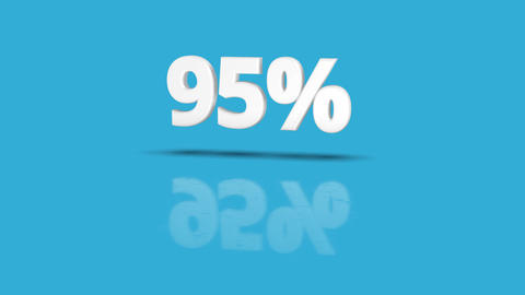 95 percent icon jumping towards camera with clean blue background Animation