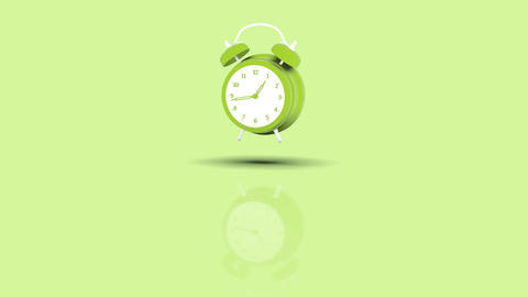 Alarm Clock Jumping towards camera with green pastell background Animation