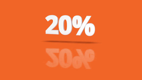 20 percent icon jumping towards camera with clean orange background Animation