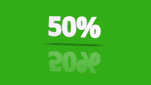 50 percent icon jumping towards camera with clean green background Animation