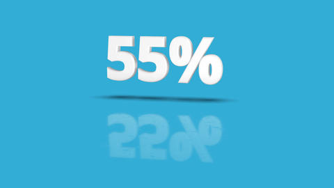 55 percent icon jumping towards camera with clean blue background Animation