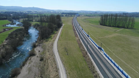 Aerial of High speed train track in Bavaria 4k Footage