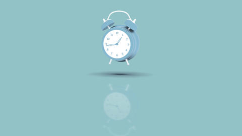 Alarm Clock Jumping towards camera with blue pastell background Animation