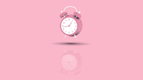 Alarm Clock Jumping towards camera with pink pastell background Animation