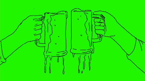 Hands Toasting Beer Celebration Drawing 2D Animation CG動画素材