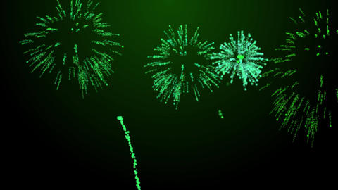 firework bursts over black background animation green tint Animation