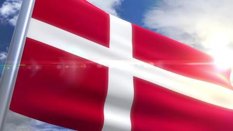Waving flag of Denmark Animation Animation