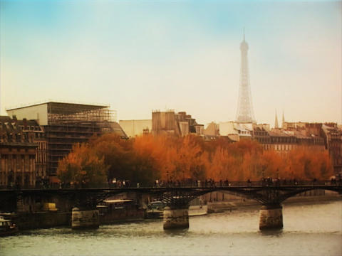 Bridge over River Seine Paris Footage